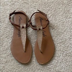 American Eagle sparkle thong sandals